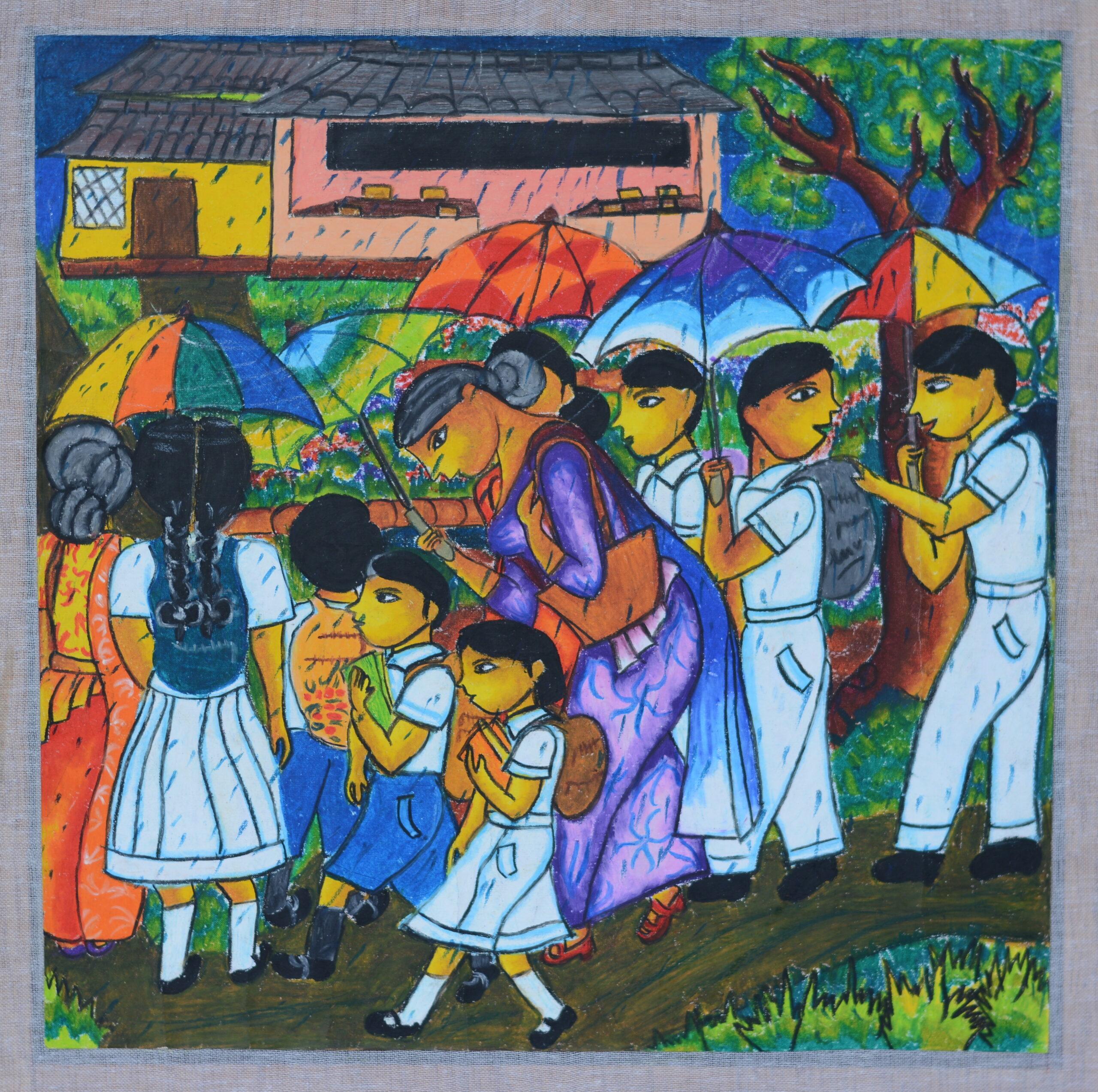 A group of children goes to the school on a rainy day_Nipuni Dinethma Piyathissa